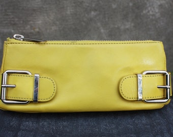 Vintage BANANA REPUBLIC Yeallow Genuine Leather Clutch
