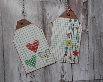 Floral Heart Grid Gift Tag Set