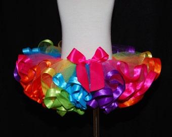 Candy color rainbow ribbon trimmed, super fluffy, sewn tutu