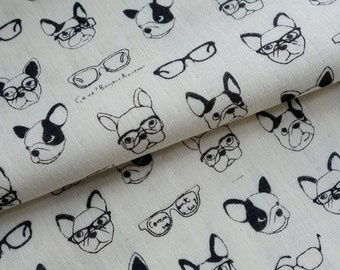 French Bulldogs with Glasses - Japanese Double Gauze Fabric - Lightweight Cotton - Kokka - HALF YD