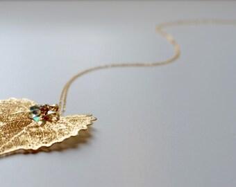 Real Leaf Necklace, Gold Leaf Necklace, Botanical Necklace, Leaf Necklace, Dainty Gold Necklace, Swarovski Necklace, Dainty Gold Necklace