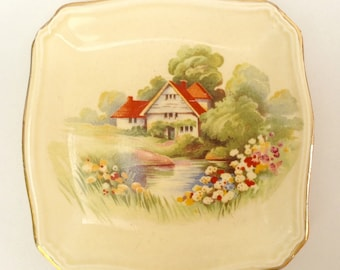 Vintage Royal Winton Grimwades Pin Tray Red Roof House and Country Garden 1930s