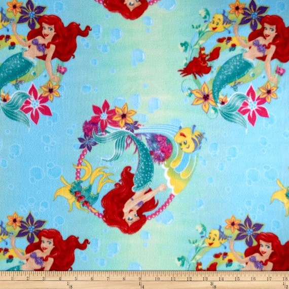 1 set of disney the little mermaid fleece ariel by chailinsews for Little blue truck fabric