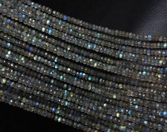 "Pack Of 30 Strand, Natural Labradorite, Labradorite Micro Faceted Rondelle Beads, Labradorite Loose Beads 14"" Strand"