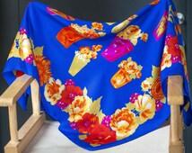Alberto Fabiani Silk Scarf Flowers - 70s Floral Italian Fashion Scarf Big - Cobalt Blue Red Roses Scarf - Summer Garden Women's Scarf Gift