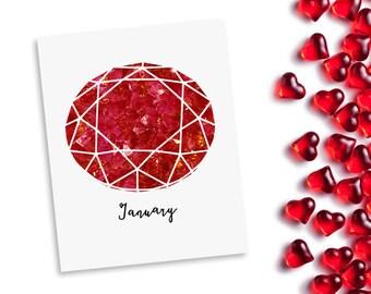 Birthstone wall art - January birthday Garnet - printable birthday gift - red gemstone - art printable