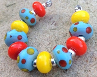 Turquoise Orange & Yellow Polka Dot Lampwork Glass Bead Set