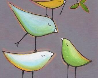 Stacked birds on gray, bird art, print of original painting