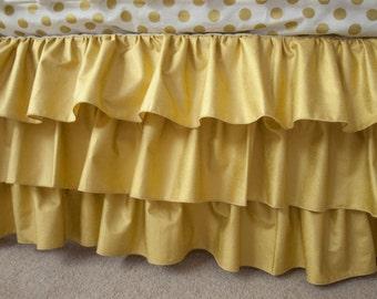 Classic Metallic Gold Crib Cot Skirt