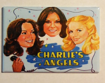 "CHARLIES ANGELS Metal LUNCHBOX 2"" x 3"" Fridge Magnet Art Vintage side A"