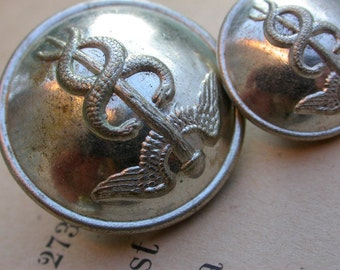 lot of 2 antique french military button silver Snake Wing  Caduee D' Hermes clothes button solid brass signed France Paris
