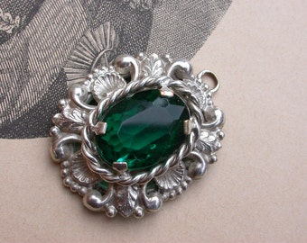 French antique silver emerald green faceted lucite cabochon ornate pendant antique France