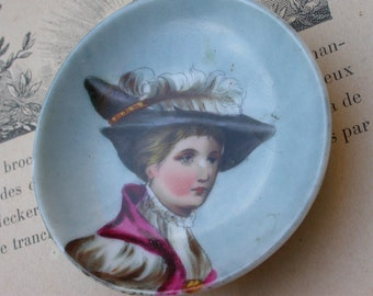 French Vintage Porcelain France woman portrain  small plate decoration