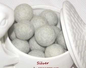 Felt Balls, Felt Beads, Pom Poms, Wool Beads , Color SILVER, Sizes 1.0 cm, 1.5 cm, 2.0 cm, 2.5 cm, 3.0 cm, 4.0 cm