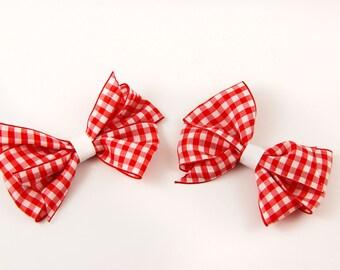 Pinwheel Hair Bow - Red and White Gingham Print (Set of 2)