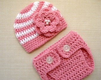 Baby girl photo prop Newborn girl photo outfit Baby girl newborn hat and diaper cover Crochet newborn outfit Girl newborn photography props
