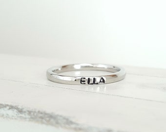 Personalized stacking ring stainless steel hypoallergenic name ring mothers ring