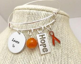 Handstamped Bracelet - Bangle - Leukemia - no one fights alone - Leukemia Awareness- leukemia survivor-leukemia bracelet- personalized