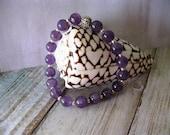Amethyst Bracelet - Boho Bracelet - Stackable Bracelet - Stretch Bracelet - Unisex Bracelet - Gemstone Jewelry - Purple Stone Bracelet