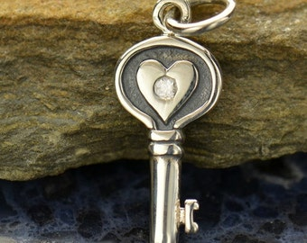 Sterling Silver Heart Key Charm with Genuine 1 Point Diamond