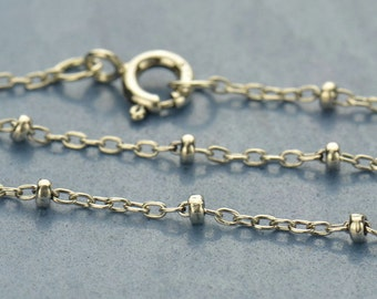 """18"""" Sterling Silver Saturn Finished Chain. Oxidized."""