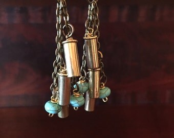 Unique Brass and Turquoise Bullet Shell Casing Earrings!