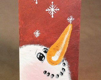Red snowman hand painted slate