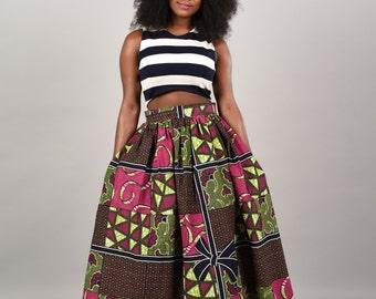 Ribbon Maxi Skirt African print -skirt