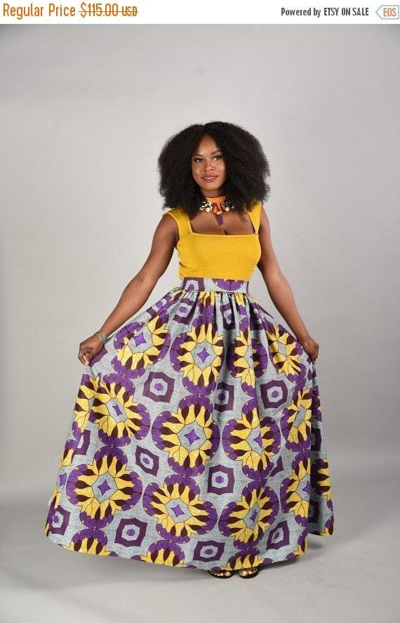 SALE Debbie Maxi Skirt African print skirt