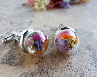 Real Flower Cuff Links, Real Flower Jewelry, Wedding Cuff links, Groom Cuff Links, Gift for Him, Personalized Cuff links, Womens Cuff Links