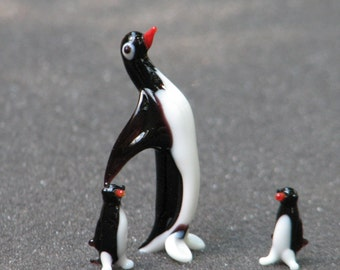 vintagedime storehandblown glass penguins set # 2003