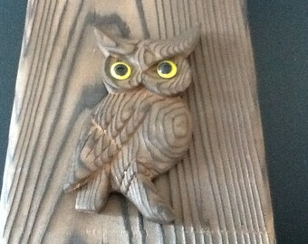 vintage cryptomeria wood owl plaque Japan nos