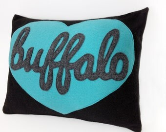 Felt Applique Buffalo Pillow Case