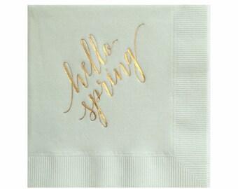 Pâques décors - serviettes en feuille d'or - Bonjour printemps