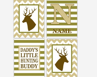 Boy Nursery Art Deer Antlers Brown Green Khaki Camo Personalized Art Daddys Hunting Buddy Baby Boy Decor Boy Bedroom Prints CHOOSE COLORS