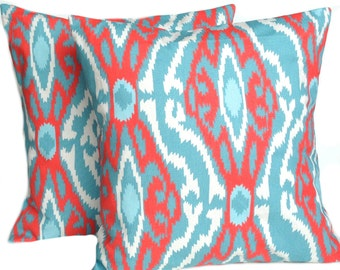 SALE!! Two coral and turquoise ikat print pillow covers, cushion, decorative throw pillow, coral pillow, 18x18