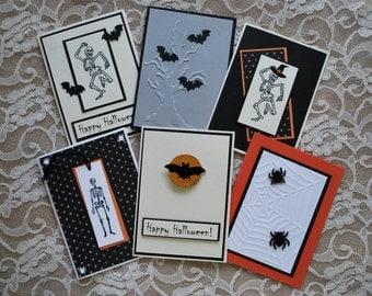 Handmade greeting cards: Set of 6 Halloween cards, skeleton, creepy tree, bats, spiders