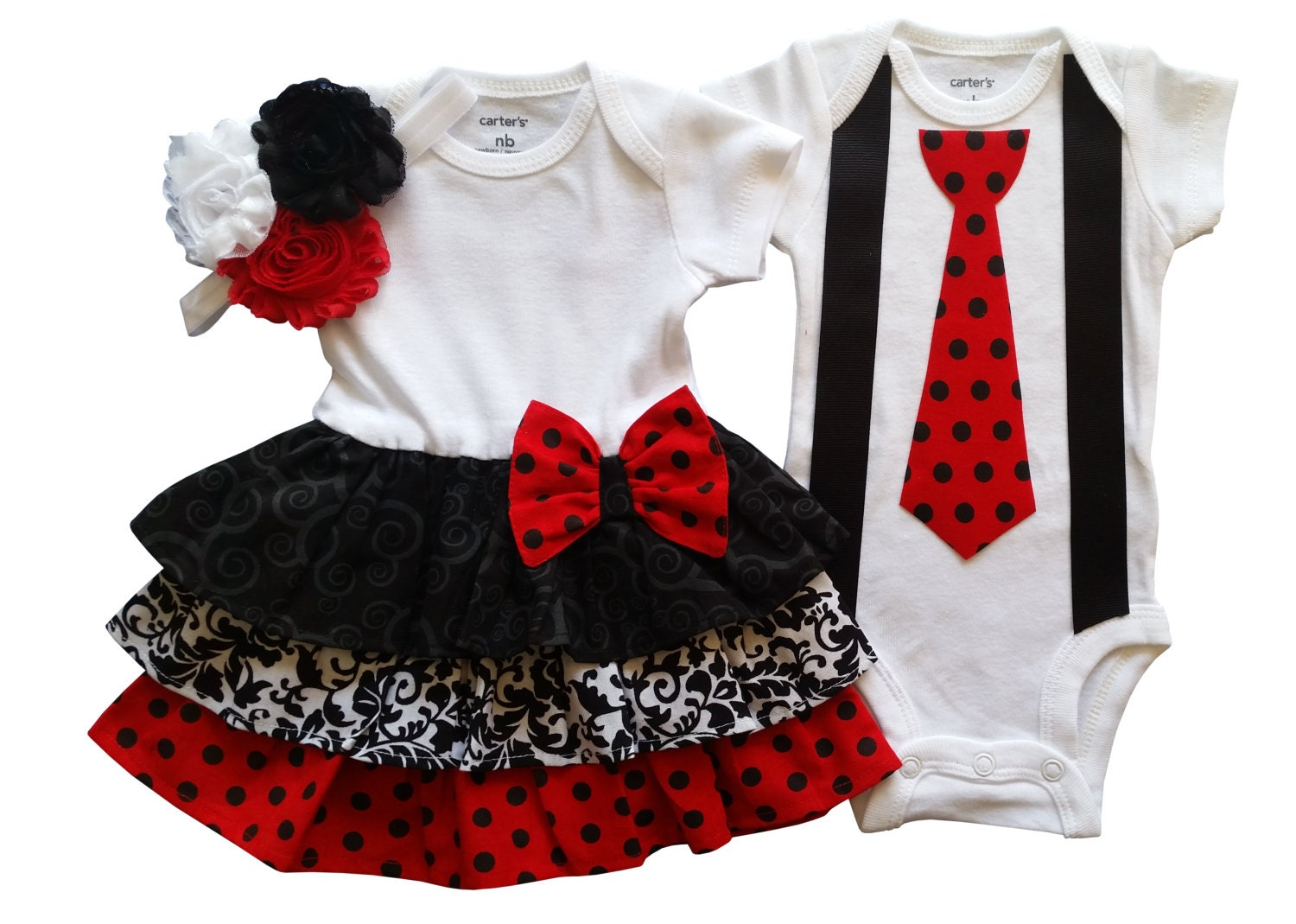 Boy Girl Twin Outfits Scarlett and Scott 3pc Set