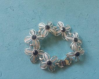 Sarah Coventry Retro 1960's Silvertone Black Stones Bracelet
