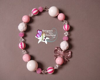 Pink White Stripe Bow Chunky Bead Necklace - SBN-004
