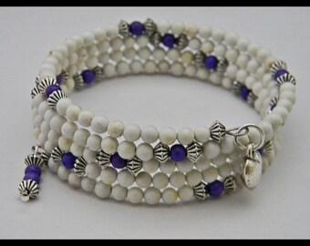 Off White Magnesite & Dark Purple Magnesite Beads Memory Wire Bracelet.