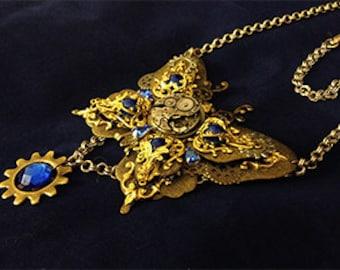 Clockwork butterfly steampunk necklace filigree blue stones mixed metal OOAK