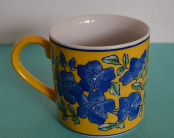 April Cornell Coffee Mugs French Country Blue & Yellow Flower Motif