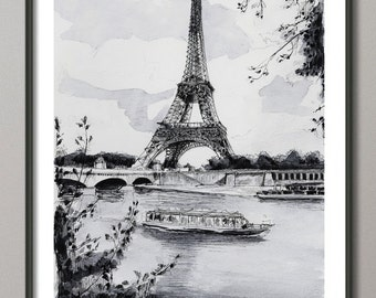 "Paris reproduction, ""La Tour Eiffel et la Seine"" - Aquarelle paris, Peinture Tour Eiffel, Impression Tour Eiffel, reproduction Paris"