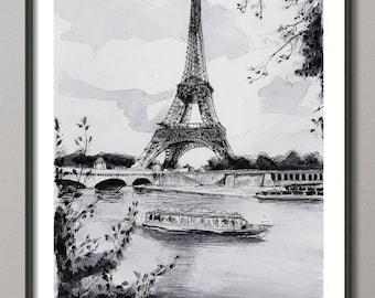"""Paris reproduction, """"La Tour Eiffel et la Seine"""" - Aquarelle paris, Peinture Tour Eiffel, Impression Tour Eiffel, reproduction Paris"""