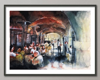 Paris cafe Painting, Watercolor, Poster France, Giclee print , Modern wall art, colorful paint