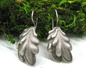 Oak Leaf earrings Celtic jewelry Druid symbol tree leaf jewelry Russian vintage silver plated earrings heathen earring pagan druid jewellery