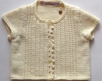 Girls Cardigan, Yellow Sweater, Baby Knit Cardigan, Toddler Sweater, 1 to 2 years, Hand Knitted Sweater, Toddler Girls Cardigan