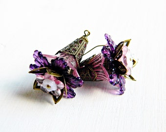 Purple Flower earrings, Bohemian earrings, Purple dangles, Statement earrings, Boho dangles, Gypsy Boho jewelry, Boho wedding jewelry