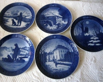 Nine (9) Royal Copenhagen Denmark Plates 1970 - 1978 Blue & White